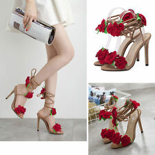 Women's Stiletto Flower Strappy Sandal Open Toe Lace Up High Heel Shoes Red Rose