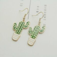 Women Lovely Gold Plated Cactus Pineapple Plants Drop Dangle Earrings Jewelry