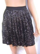 New BEBE Bubble Hem Black Sequin Skirt XS 202879 Neu Schwarz Rock