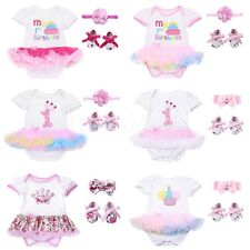 3Pcs Baby Girl Headband 1st Birthday Party Romper Skirt Dress Set Clothes Outfit