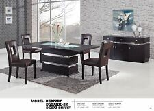 Pedestal Dining Set with Upholstered Brown Chairs Cut-out Design