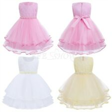 Lace Flower Girl Dress Kids Princess Bridesmaid Beaded Wedding Prom Ball Gown