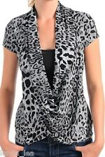 Black/Gray Leopard Drape/Cowl Contrast Inset Cap Sleeves S/M/L *Also Brown*