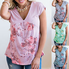 New Women's Short Sleeve Blouse V Neck Cotton Blend Floral Tee Top Loose Shirts