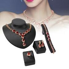 4X/Set Wedding Bridal Party Prom Jewelry Sets Necklace Earrings Bracelet Ring TS