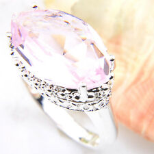 Wedding Gift Oval Cut Lovely PInk Topaz Gemstone Silver Woman Ring US Size 7 8 9