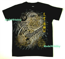 EMPEROR ETERNITY T-Shirt Black M L XL ORIENTAL FISH CARP FLOWER GOLD FOIL TATTOO