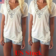 Women Summer White Loose V Neck Short Sleeve Casual Tank Tops Blouse T-shirts