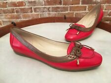 Isaac Mizrahi Skipper Red Leather 2 Tone Boat Ballet Flats NEW