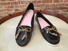 Isaac Mizrahi Decker Black Patent Boat Deck Shoes Flats New