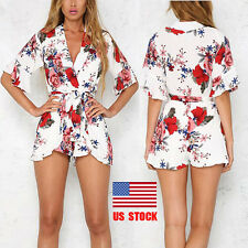 Women Crossover Front Waist Belted Floral Prom Short Romper Playsuit Jumpsuit