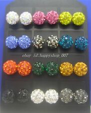 24pcs (12 pair) 8MM 10MM Disco Ball Crystal CZ Steel Stud Pierced Earrings Set B