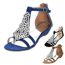 Rhinestones Ladies Sparkle shoes Womens Strappy Wedges Heels Flats Sandals size