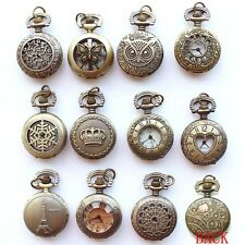 Antique Bronze 15 Style Vintage Pocket Watch Quartz Pendant Necklace Chain Gift