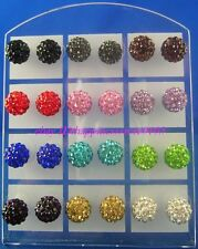 24pcs 6mm 8MM 10mm Disco Spacer Ball Bead Crystal CZ Steel Stud Pierced Earrings