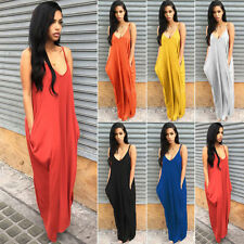 Women Vintage Boho Hippie Long Maxi Evening Party Beach Dress Strappy Sundress