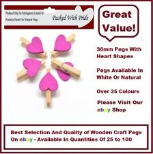 NATURAL PEGS WITH FUCHSIA HEARTS - 30mm Small Wooden Craft Pegs - Wedding