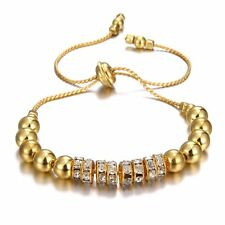 Women Fashion Silver/Gold Crystal Rhinestone Beads Bracelet Wristband Jewelry