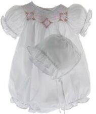 Girls White Smocked Bubble Outfit & Bonnet Set