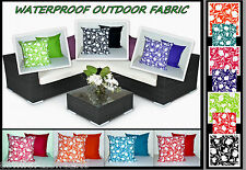 2 FILLED SCATTER CUSHIONS WATERPROOF FABRIC CANE FURNITURE SEATS BENCH CUSHIONS