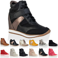 VH3 NEW WOMENS LACE UP LADIES CONCEALED WEDGE PLATFORM TRAINERS SHOES SIZE 3-8