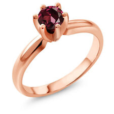 0.60 Ct Round Red Rhodolite Garnet 18K Rose Gold Plated Silver Ring