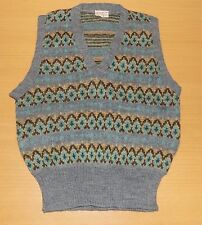 """VINTAGE 1960's UNWORN BOYS GREY PATTERNED WOOL KNITTED TANK TOP SIZE 28"""" CHEST"""