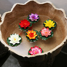 Artificial Floating Flower Lotus Water Lily Decor Pool Pond Tank Plant Ornament