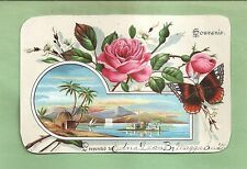 Lovely ROSES, BUTTERFLY On Victorian-Era REWARD OF MERIT (?) Souvenir Card