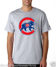 Chicago Cubs Throwback Logo Champion T Shirt Mens Short Sleeve Tee New