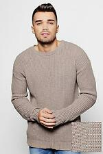 Boohoo Mens Oversized Fisherman Knit Jumper with Slouchy Sleeves