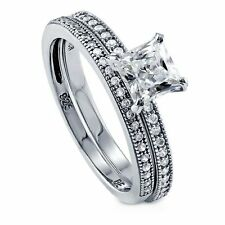 Sterling Silver 1.24 ct.tw Princess Cubic Zirconia CZ Solitaire Engagement Wedd