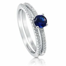Sterling Silver Round Blue Cubic Zirconia CZ Solitaire Engagement Wedding Ring