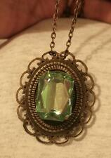 Scallop Rim Raised Faceted Green Rectangle Brasstone Pendant Necklace Brooch
