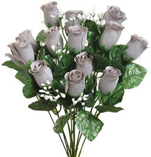 14 Roses Buds ~ MANY COLORS ~ Bouquets Wedding Centerpieces Silk Flowers Bride