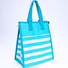 Nautical Turquoise stripe Insulated Lunch Tote Bag-Lunch Bag