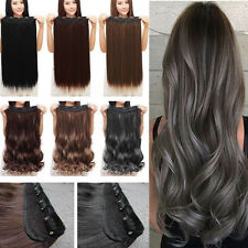 Synthetic Clip in Full Head Hair Extensions Long Curly Straight Extensions