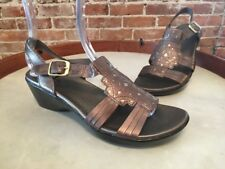 Clarks Ella Chamber Silver Metallic Leather Ankle Strap Wedge Sandals New