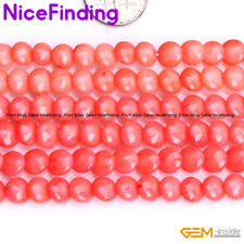"""7mm Flat Coin Coral Loose Stone Beads For Jewelry Making Strand 15"""" Color Pick"""