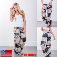 Women Flowers Floral Printed Lace Up Wide Leg Casual Loose Plaid Trousers Pants