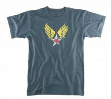 US Air Force T-Shirt Winged Star Army Air Corps Blue WWII Vintage USAAF USAF