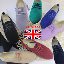 UK Womens Lace Up Suede Ballerina Pumps Casual Shoes Loafers Flat Slipper Ballet