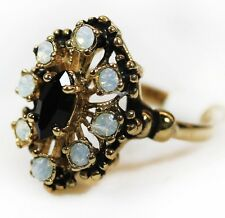Vintage Jet Black Austrian Crystal & Pinfire Opal Filigree Cocktail Ring USA 250