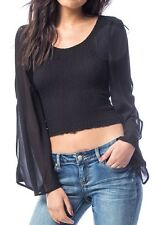 Black Smocked Bodice Split Bell Chiffon Sleeves Cropped Blouse Top