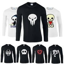 Funny Mens Cotton Skull Printed Long Sleeve Tee Cotton T-shirts Tops Crew Neck