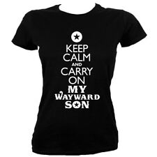 Keep Calm and Carry On My Wayward Son Women's Black T-shirt