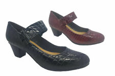Ladies Shoes MG Pax Black or Wine Patent Croc Leather Mary Jane Heels Size 6-10