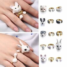 3 Pcs/Set Cute Animal Dog Rabbit Cat Knuckle Rings Band Women Lady Midi Ring New