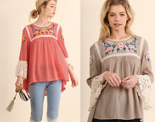 Chic UMGEE Peasant Lace Blouse Top Floral Embroidered Bell Sleeve Boho Casual