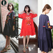 Vintage WomenEmbroidery Holiday Loose Dress Pleated Cotton Beach Long Dresses